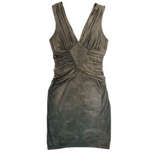Bebe Faux Suede Olive Bodycon Dress